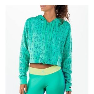 Adidas Stella McCartney Green Full Zip Logo Hoodie